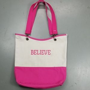 "Thirty-one ""Believe"" Canvas Crew pink & white Tote"